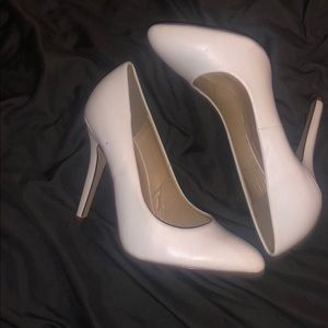 White Bearly Worn High Heel Shoes
